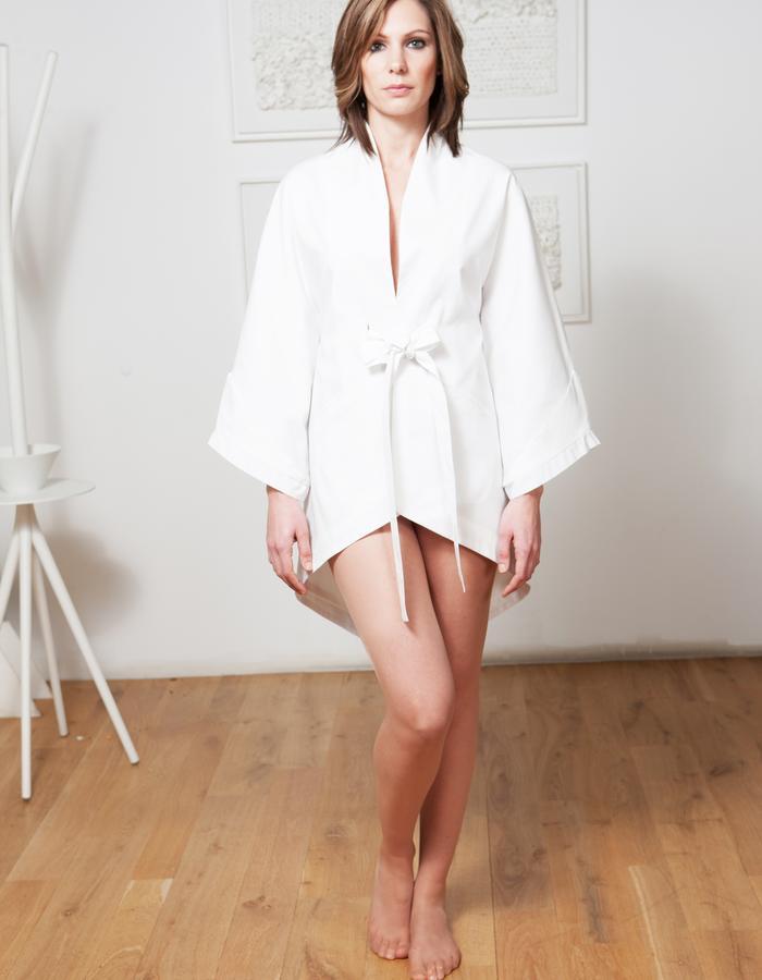 Elegant interior & outdoor gown with kimono sleeves.