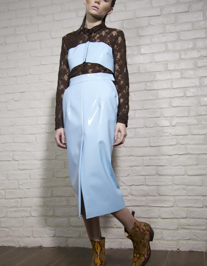Lace & Vinyl asymmetric shirt and Vinyl long skirt
