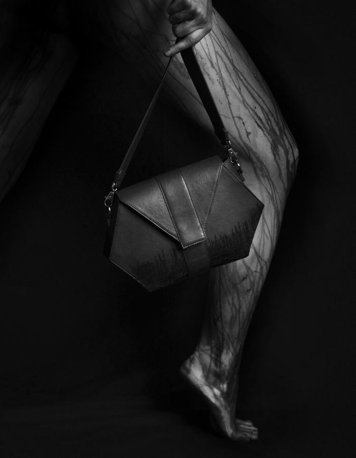 Leather Clutch - Laser engraved - motif UnderC