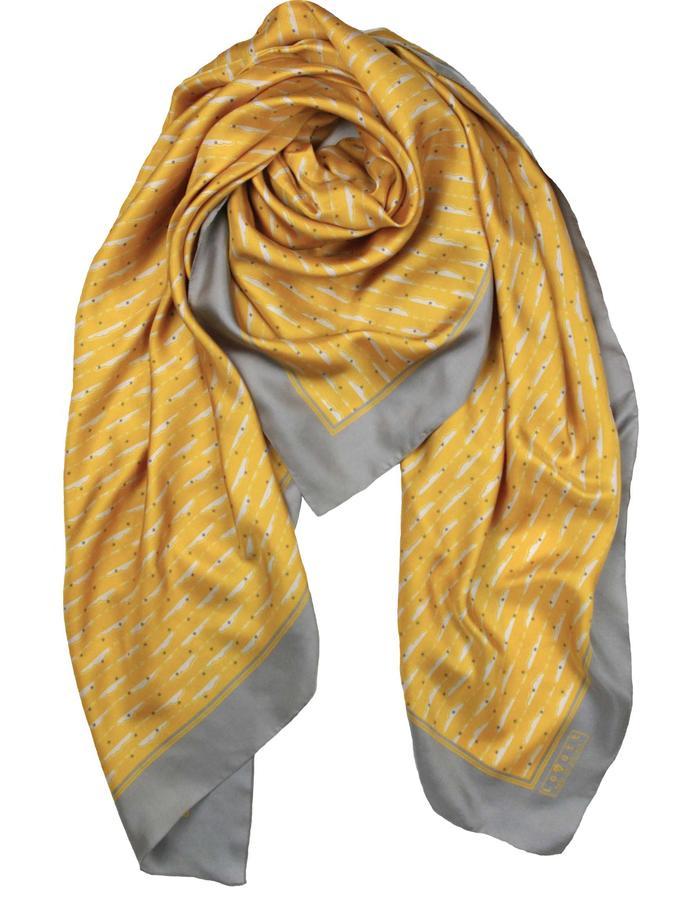 Rachel Lovatt, silk scarf, stole, wrap, clouds, saffron, yellow, design, folk tale,  luxury women's accessories, british design, made in Britain, illustrated, hand-drawn