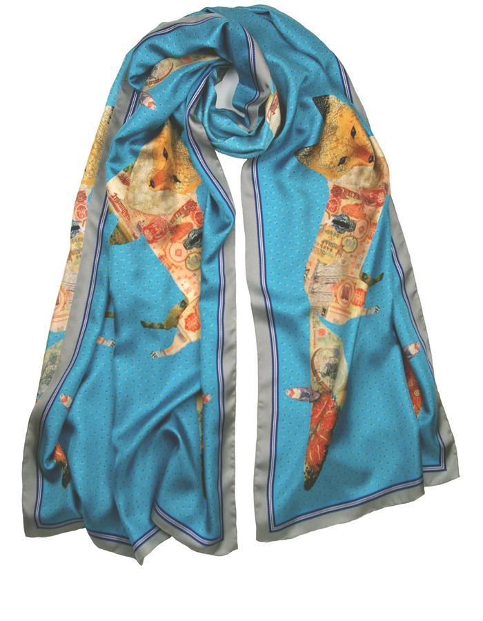 Rachel Lovatt, silk scarf,stole, wrap,  fox, wings, feather, design, folk tale,  luxury women's accessories, british design, made in Britain, illustrated, hand-drawn