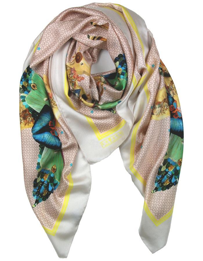 Rachel Lovatt, silk scarf, horse, stars,  butterfly, wings, feather, design, folk tale,  luxury women's accessories, british design, made in Britain, illustrated, hand-drawn