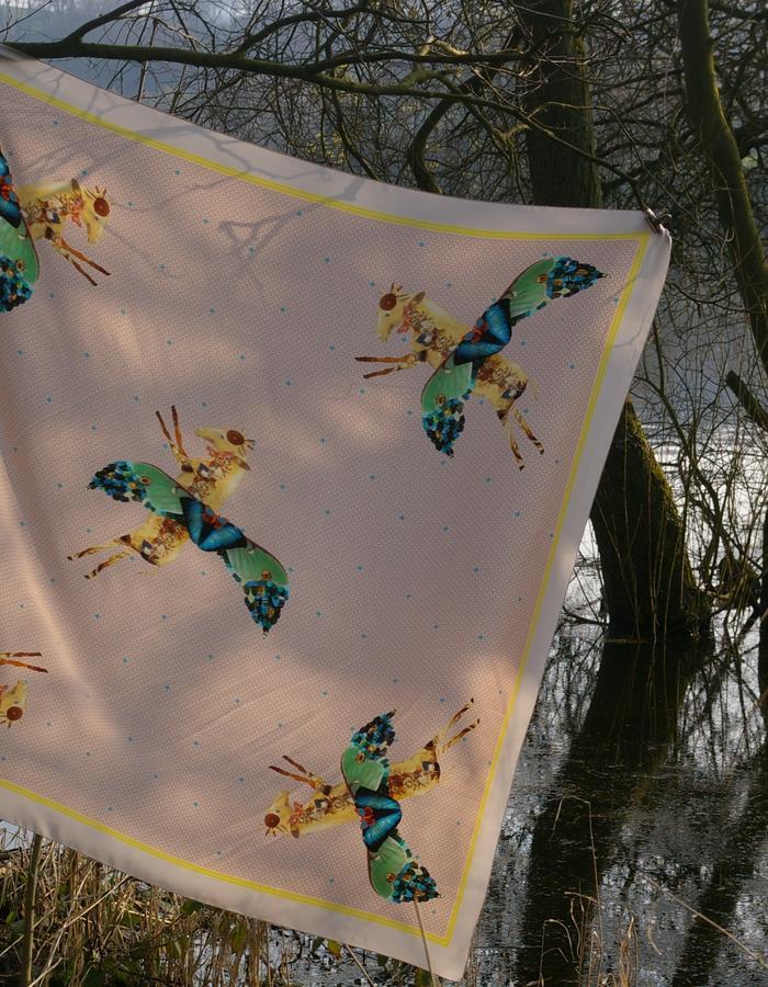 Rachel Lovatt, silk scarf, horse, stars,  butterfly, wings, feather, design, folk tale,  luxury women's accessories, british design, made in Britain, illustrated, hand-drawn, kimono, style