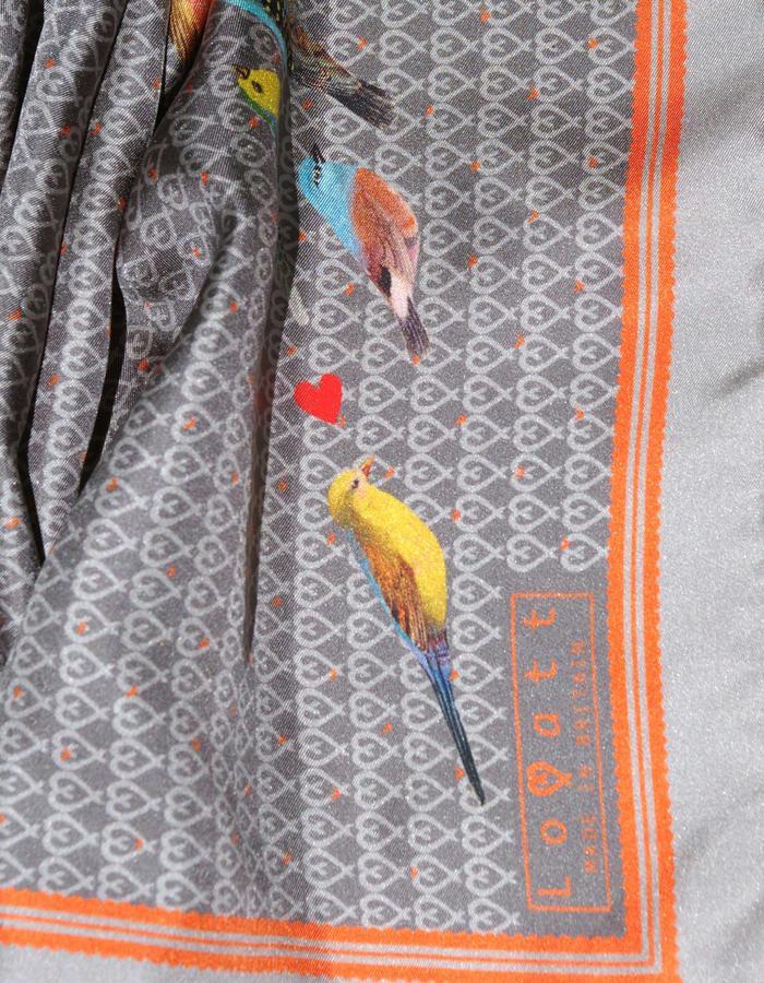 Rachel Lovatt, silk scarf, bird, hearts,  jackdaw, design, folk tale,  luxury women's accessories, british design, made in Britain,