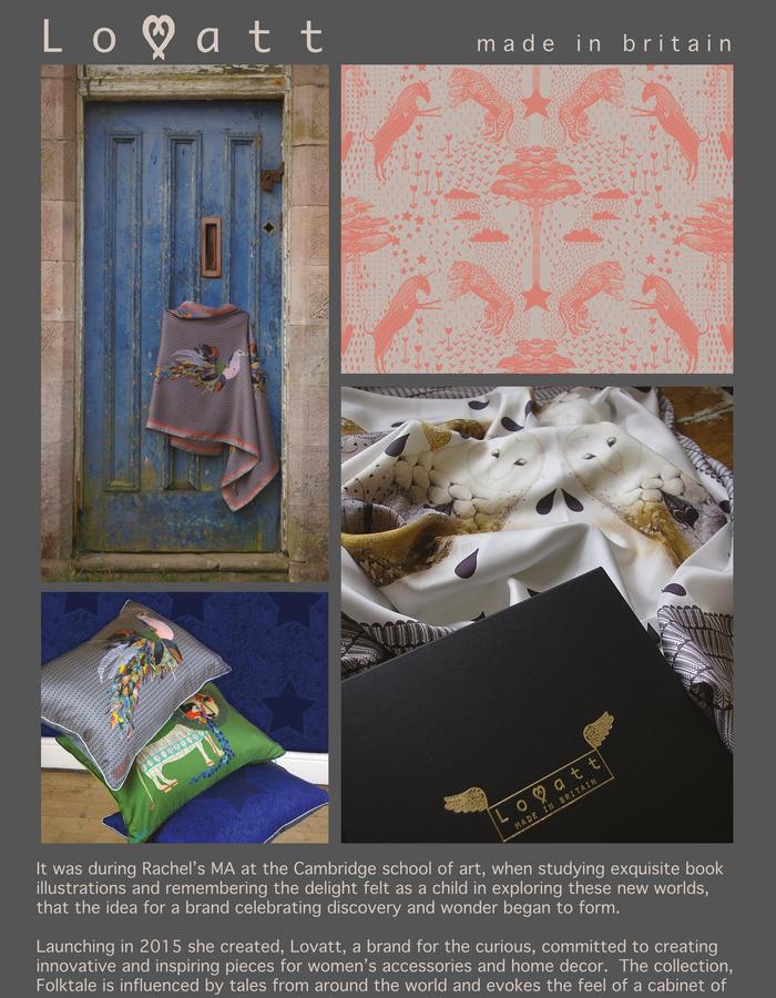 Rachel Lovatt, silk scarf, stole, wrap, design, folk tale,  luxury women's accessories, british design, made in Britain, illustrated, hand-drawn