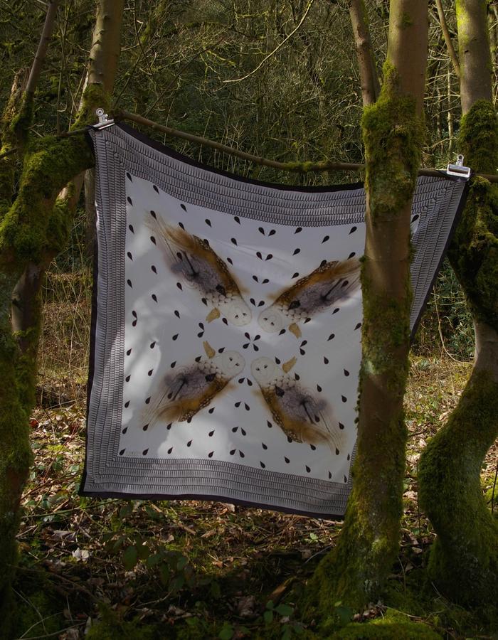 Rachel Lovatt, silk scarf, bird, raindrops,  owl, wings, feather, design, folk tale,  luxury women's accessories, british design, made in Britain,kimono style