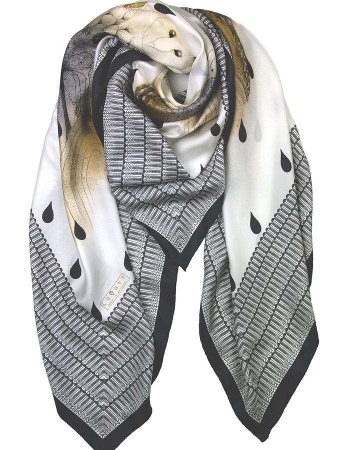 Rachel Lovatt, silk scarf, bird, raindrops,  owl, wings, feather, design, folk tale,  luxury women's accessories, british design, made in Britain,