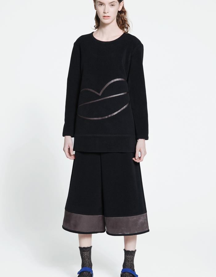 casual fleece blouse, casual fleece culottes