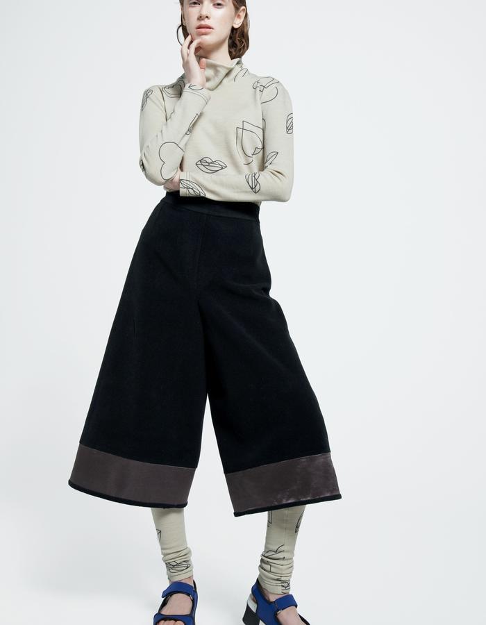 wool jersey turtleneck top, casual fleece culottes, wool jersey leggings