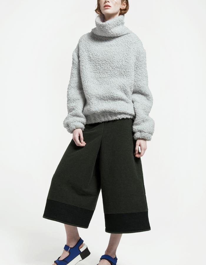 oversize bouclé sweater, rubbered cotton and silk culottes