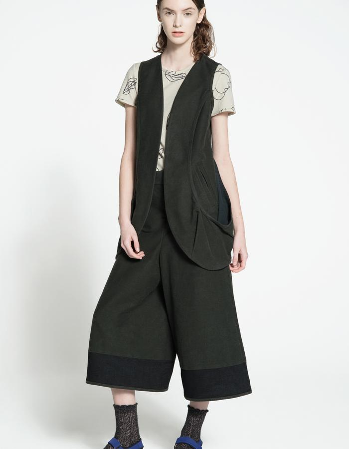 wool jersey t-shirt, rubbered cotton and silk vest, rubbered cotton and silk culottes