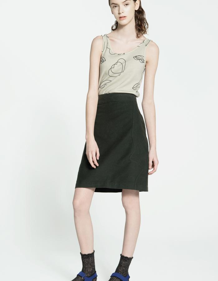 wool jersey tank top, rubbered cotton and silk skirt