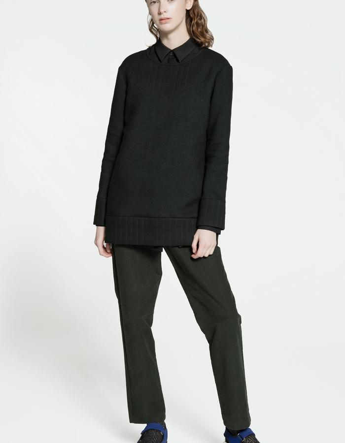 casual thick jersey blouse, royal baby alpaca and kid mohair shirt, rubbered cotton and silk trousers