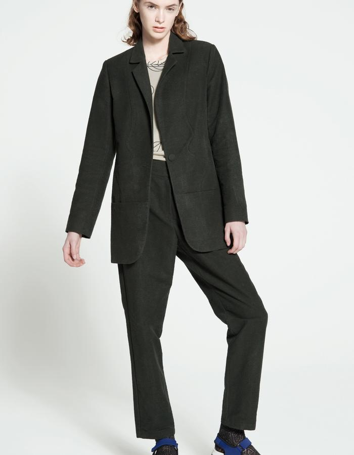 ubbered cotton and silk suit