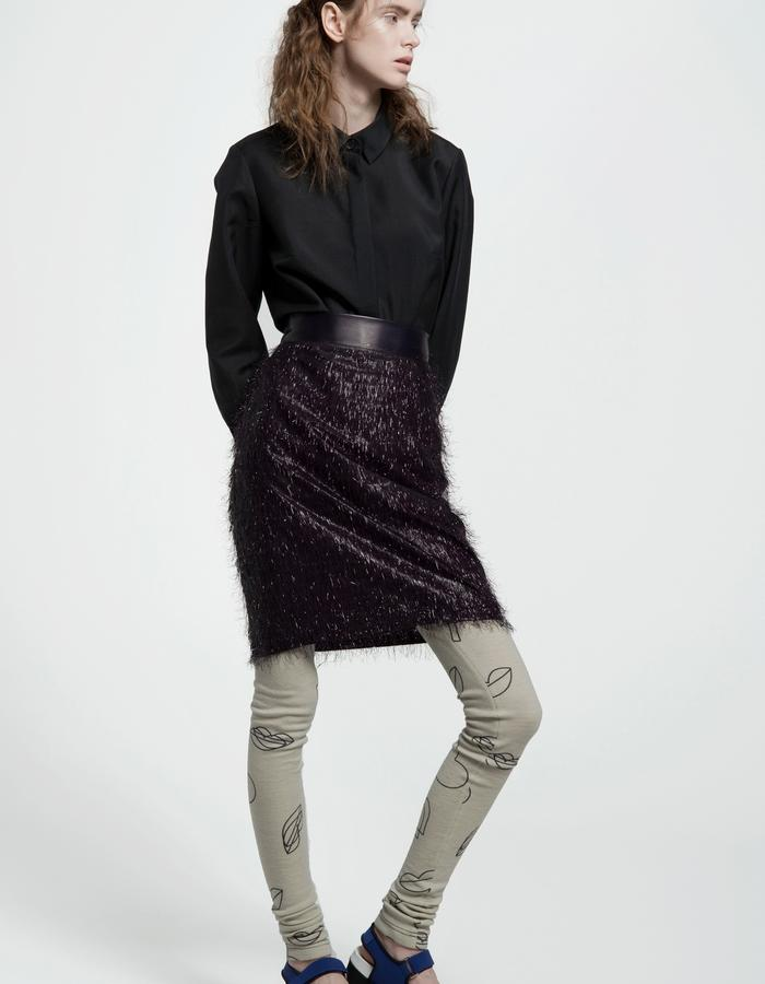 royal baby alpaca and kid mohair shirt, cellophane mini fringe skirt, wool jersey leggings