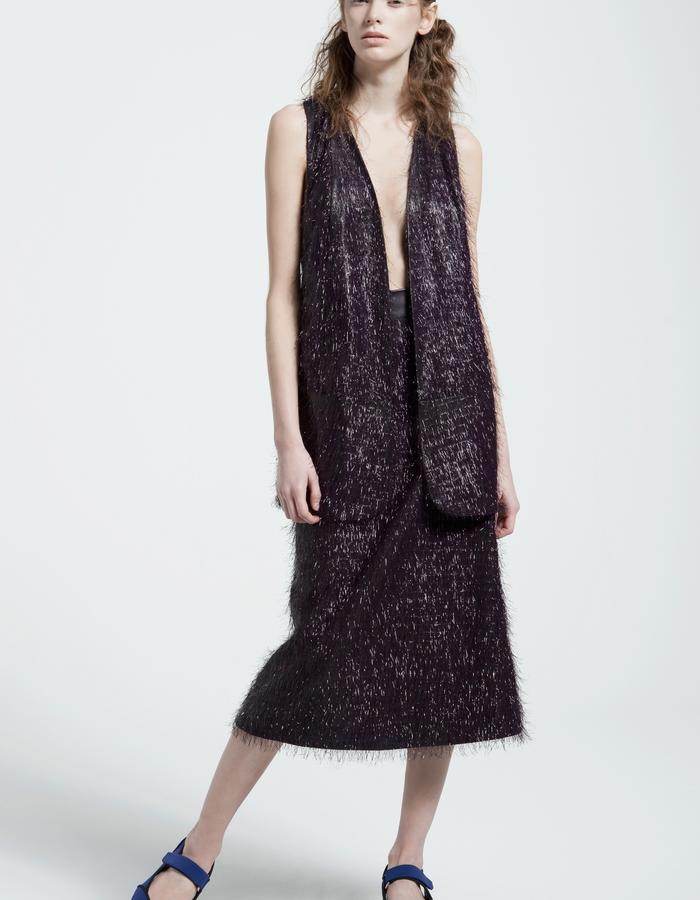cellophane fringe vest, cellophane midi fringe skirt