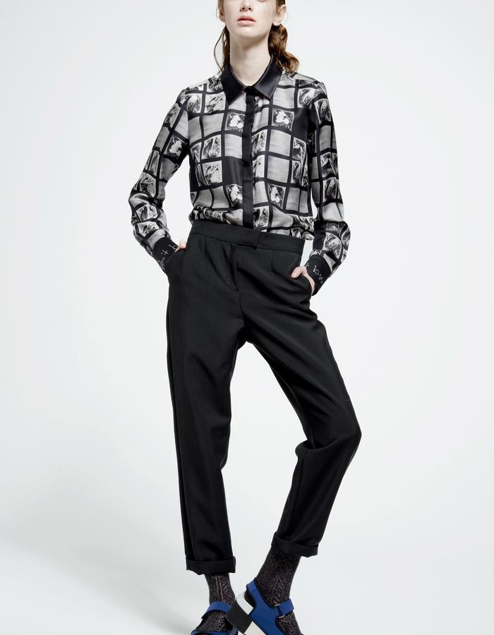 silk shirt with signature print, royal baby alpaca and kid mohair trousers