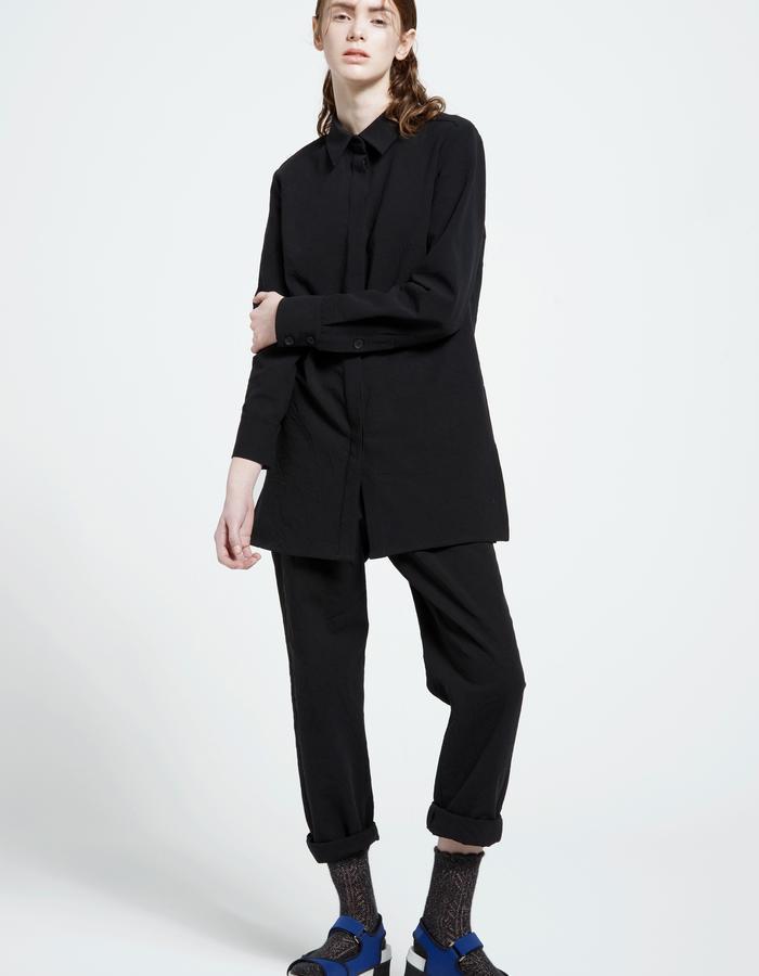 textured denim shirt, textured denim trousers