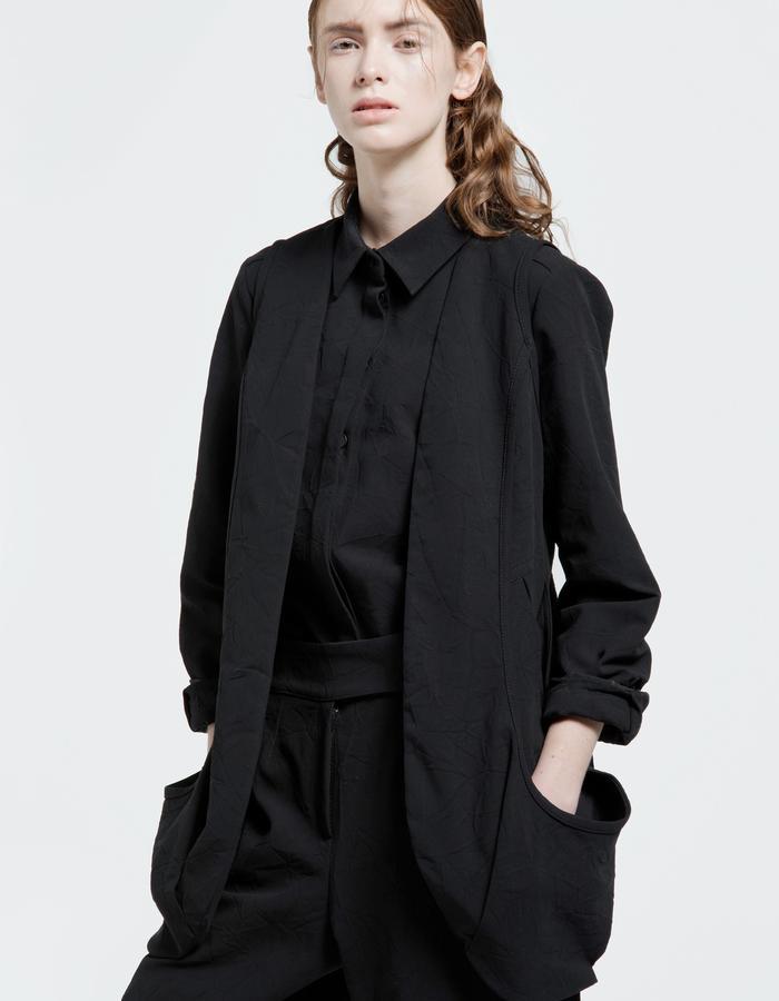 textured denim shirt, textured denim vest, textured denim trousers