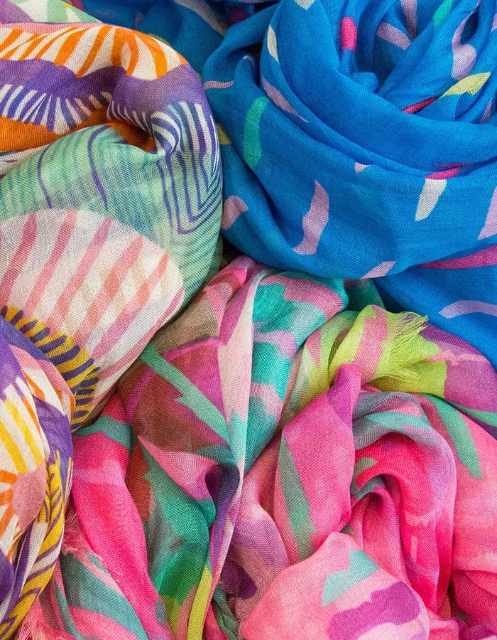 Lindisfarne Iris, Laelia and Byzantium Voyeur scarves by Liz Nehdi