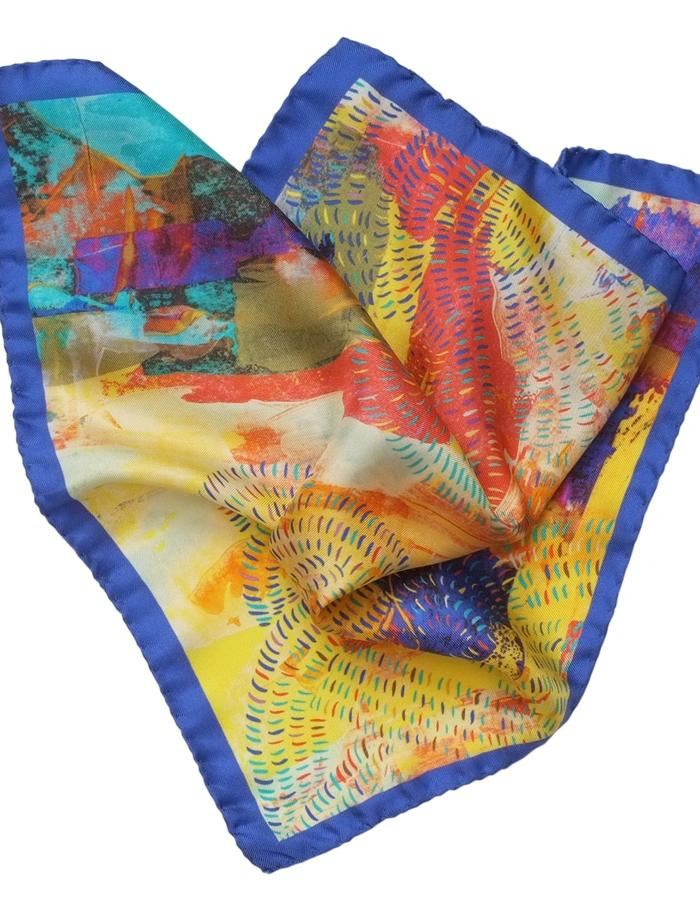 Meandering Huang He pocket square by Liz Nehdi