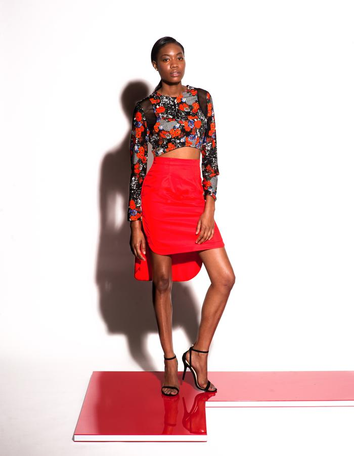 Christian Allana Look3- Printed Crop with Mesh Inset, Paired with Rounded Hem Stretch Sateen Skirt with side exposed zippers