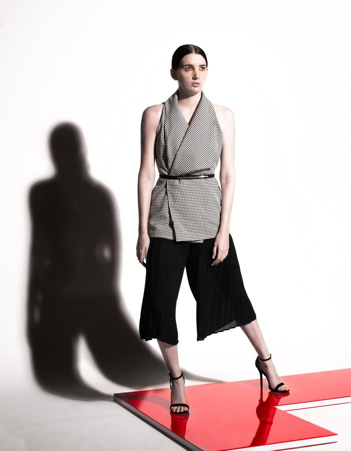 Christian Allana Look4- Belted Wrap Tweed Vest paired with  Silk Georgette Pleated Culottes