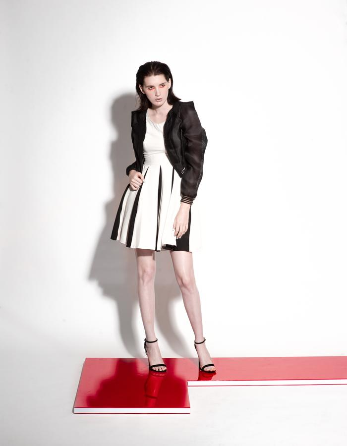 Christian Allana Look7- Black and White Crepe Dress with Silk Gazaar Bomber Jacket