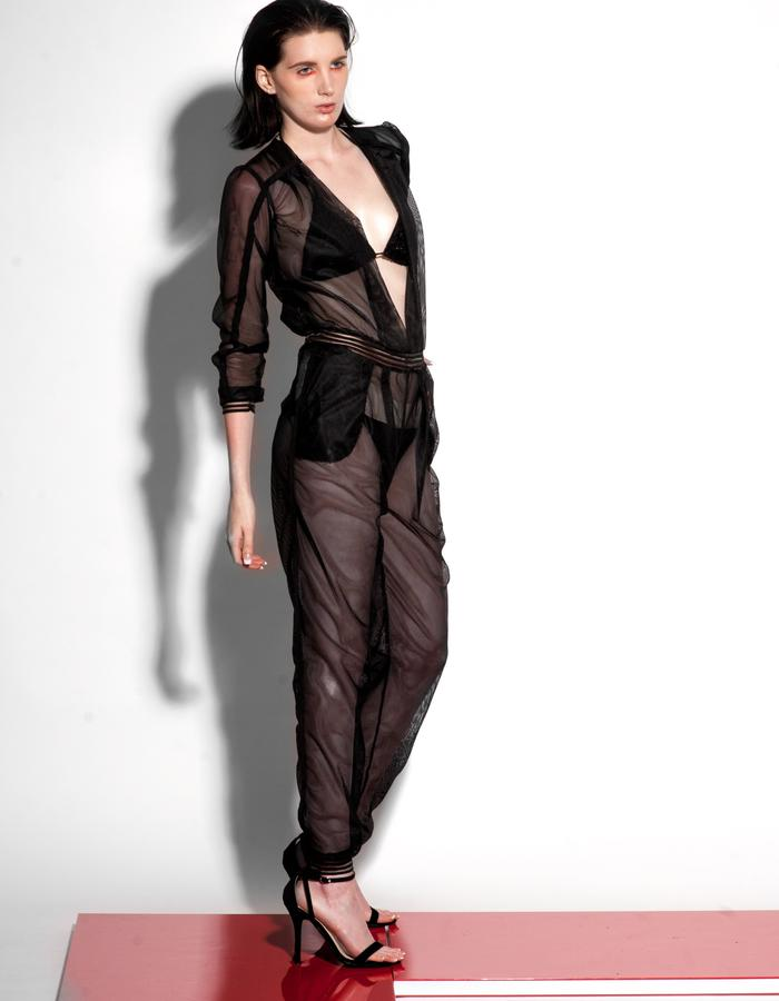Christian Allana Look9-Mesh Jumpsuit and Black Bikini Set