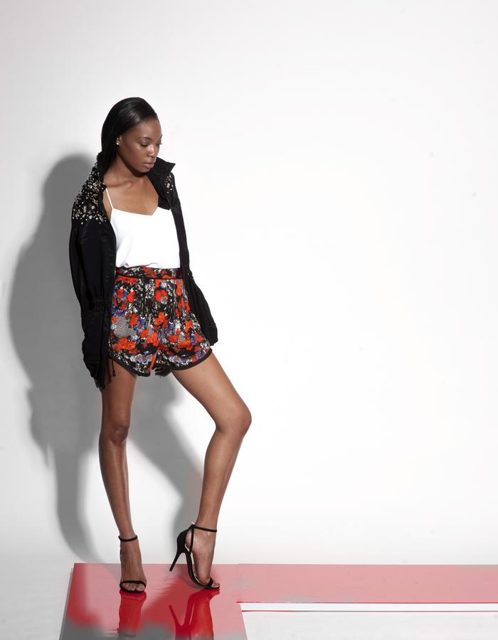 Christian Allana Look 10- Printed Shortie, Silk Georgette Tank, and Embellished Jacquard Utility Jacket