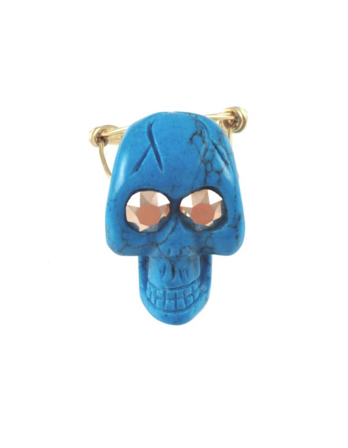 Mizdragonfly Skull Ring - Turquoise & Copper
