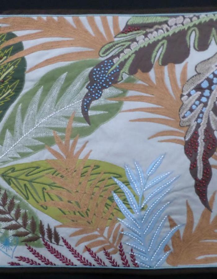 embellished tropical leaves