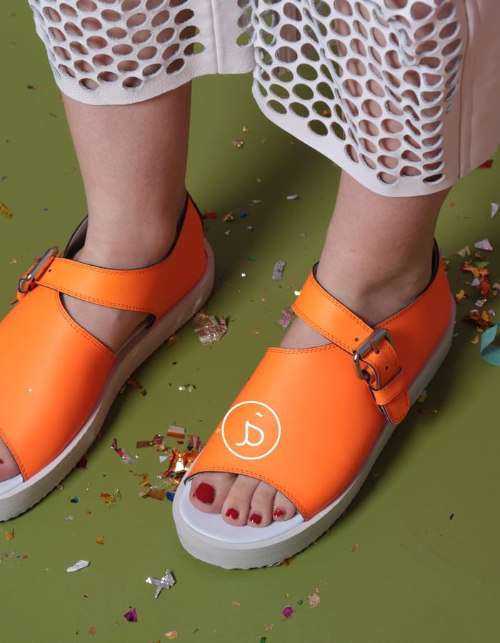 Neon orange sandals