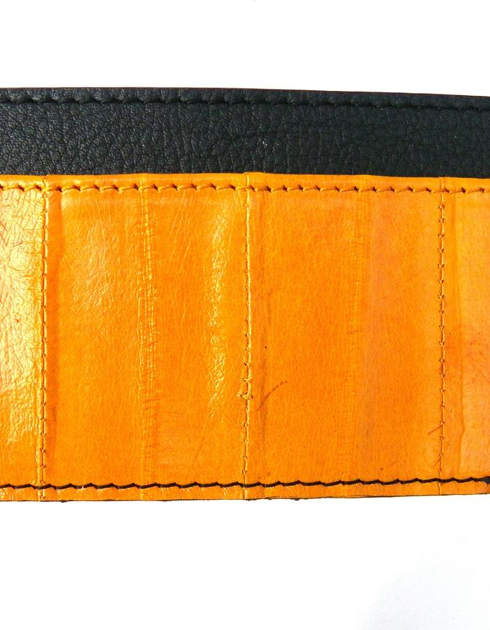Amigo eel skin card holder in sunflower colour with black leather
