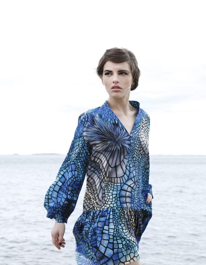 Sanna Naapuri Resort 2016: Inca shirt dress / Mosaic print