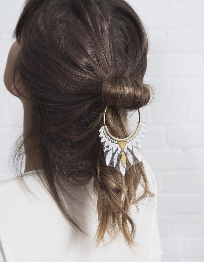 Daze hair piece (raw brass hoop and lace)