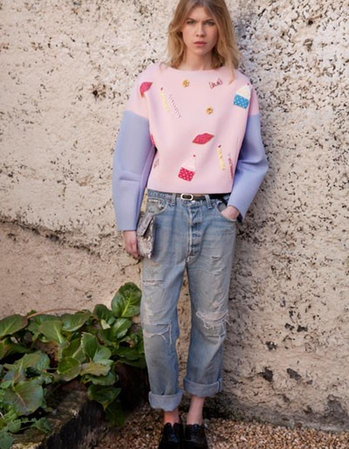 AW15_ TOP1 Pink & Mauve Neoprene Birthday Wish Top with Beaded Appliqué