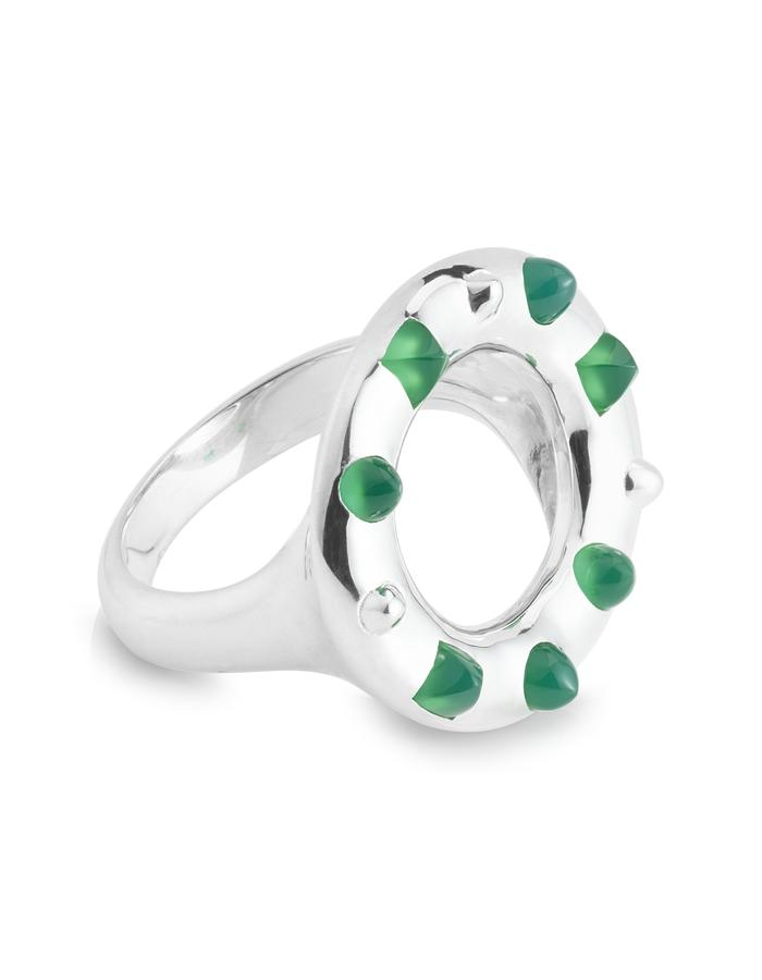 Silver Crown Cocktail Ring with custom-cut Green Agate gemstone spikes