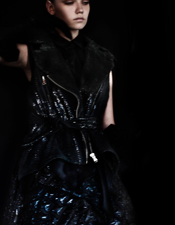 Black Shiny Leather Gilet Sleeveless with Belt