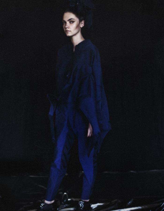 Navy Blue Origami OnePiece Shirt Long Sleeves