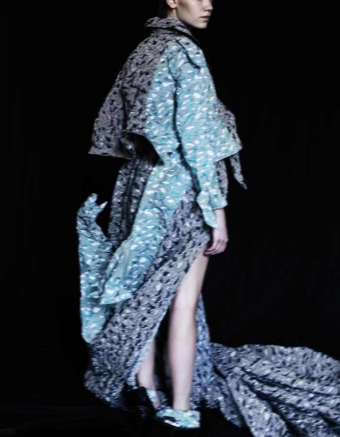 Solid Origami Bird Floral Extra Long Coat