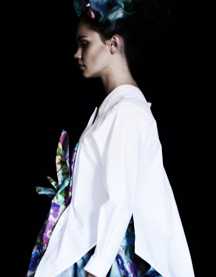 White Origami OnePiece Shirt 3/4 Long Sleeves