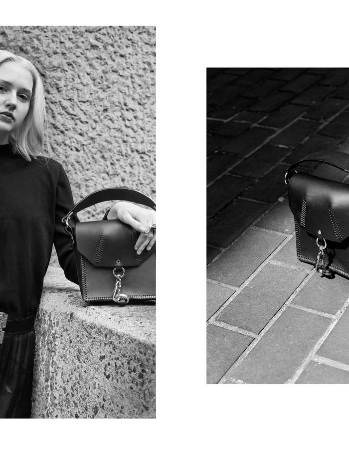 Lauren Geoghegan handbags and belts handcrafted in London, new leather accessories look book. Photography by Morgan Hill-Murphy.
