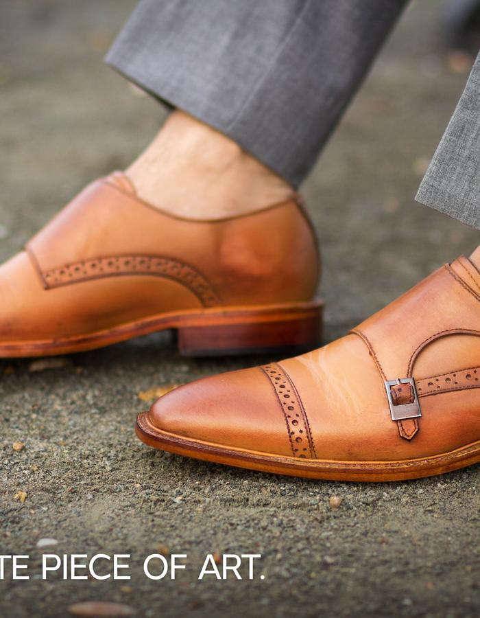 Tango Brown Leather Monkstraps