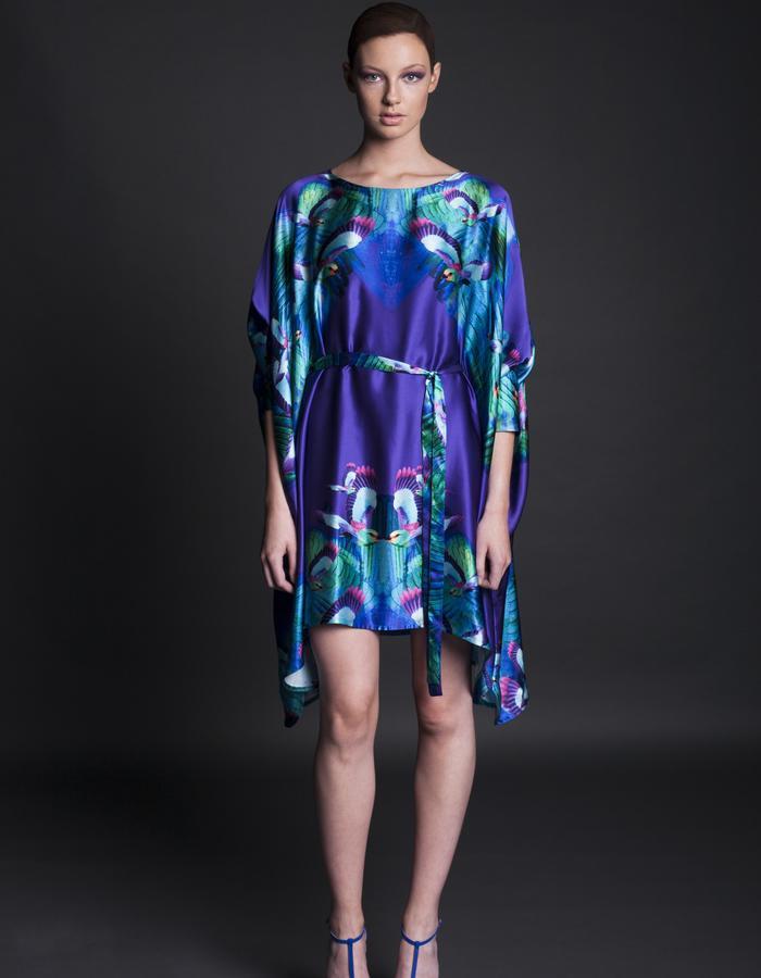 Purple Hummingbird Kimono Dress