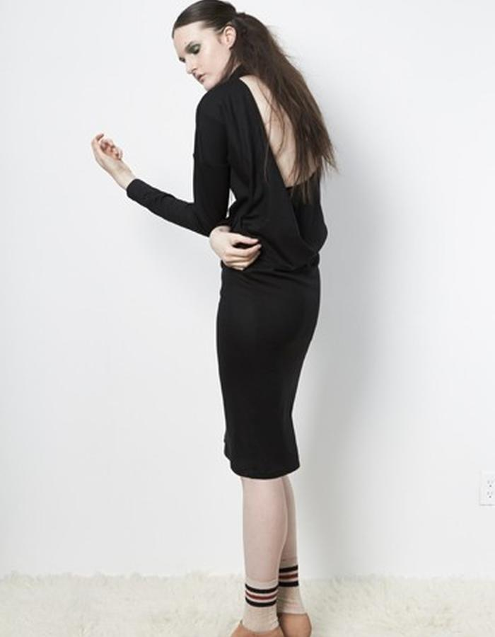 Anderst Morla Mala Dress Style# 0115 black rayon matte jersey, open draped back
