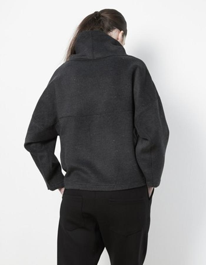 Anderst Morla Alrun Sweater Style# 0216 charcoal brushed wool with pocket pouch