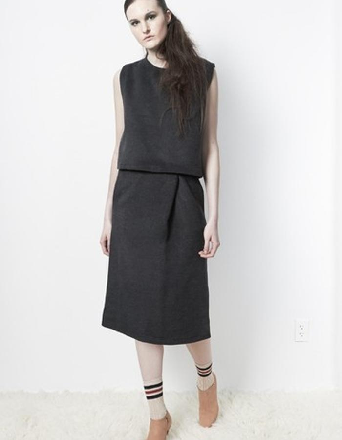 Anderst Morla Romy Dress Style# 0114 charcoal brushed wool