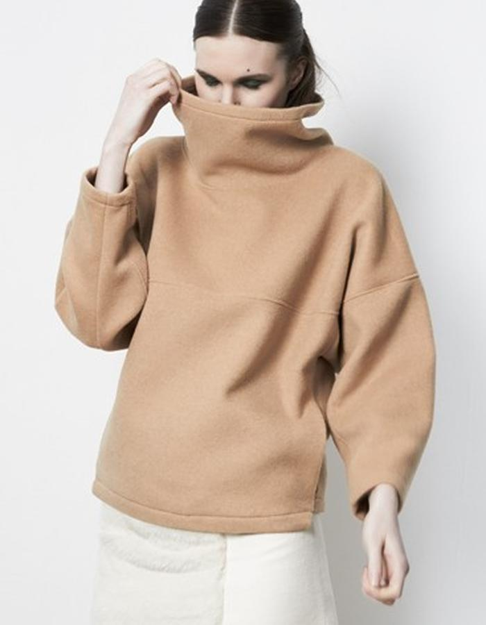 Anderst Morla Alrun Sweater Style# 0216 Maple brushed wool-mink-cashmere, Eleonora Insert skirt Style# 0408 white wool-mink-cashmere with white faux fur combo