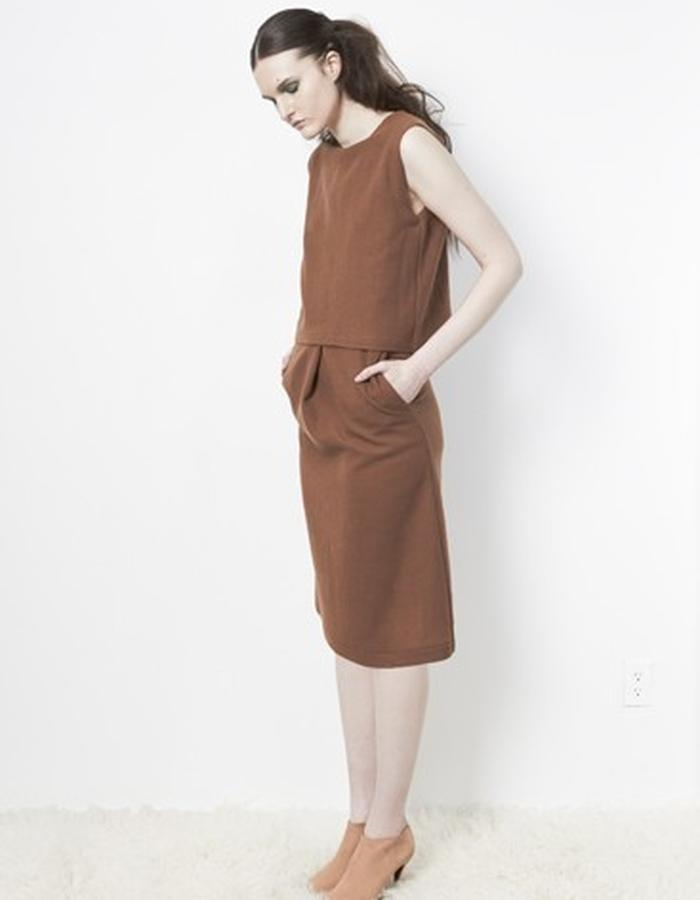 Anderst Morla Romy Dress Style# 0114 Walnut wool georgette